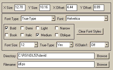 The center panel of the FSC_PSConfig graphical user interface with font information turned on.