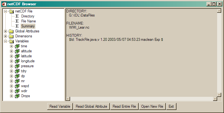 Browsing and Reading netCDF Files in IDL