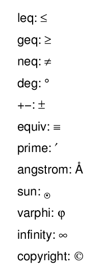 in additon to greek symbols the cgsymbol program can produce these symbols too